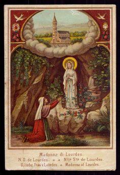 OUR LADY OF LOURDES & ST BERNADETTE Antique Chromolitho HOLY CARD