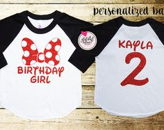 """Minnie Mouse bow"" shirt printed with red glitter. polyester All items are professionally printed with highest quality glitter vinyl. Production time is business days. Disney Birthday Shirt, Disneyland Birthday, Custom Birthday Shirts, 2nd Birthday Shirt, Personalized Birthday Shirts, Minnie Birthday, Birthday Gifts, Birthday Ideas, Disneyland Shirts"