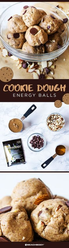 Shakeology cookie dough energy balls. Delicious and nutritious! Shakeology recipe // healthy cookie dough// 21 day fix// energy ball recipe// how to lose weight// sugar // healthy choices // vegetarian // Beachbody // BeachbodyBlog.com