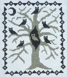 PDF E pattern emailed Primitive Halloween Owl by stitcherhood, $5.00