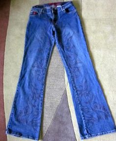 Bongo Vintage jeans with leg designs size 7 FREE SHIP!!