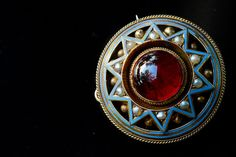 Superb Victorian Mourning Locket Pendant 15k gold, garnet, seed pearls, enamel. Hair brooch/pendant