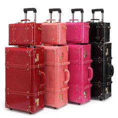 Retro luggage sets with modern conveniences.