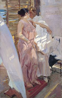 The Pink Robe By Joaquin Sorolla - Famous Art- Handmade Oil Painting On Canvas — Canvas Paintings Spanish Painters, Spanish Artists, Figure Painting, Painting & Drawing, Dress Painting, Painting Studio, Valencia, Portraits, Famous Art