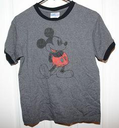 "Vtg Disneyland ""Mickey Mouse"" Graphic Tee Shirt Gray with Black Trim Men's XS #Disney #GraphicTeeShirt #MickeyMouse"