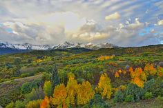 Sunrise at Dallas Divide - a stunning sunrise over Dallas Divide in southwestern Colorado during fall foliage season.  Buy a print for as little as $3.00!