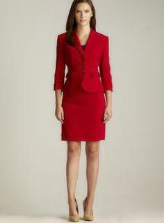 Tahari Karen Three Button Pleated Pocket Petite Skirt Suit