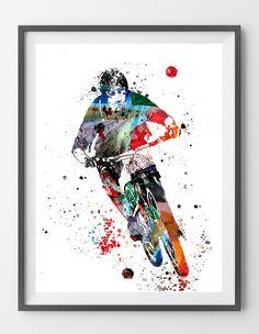 Mountain biking watercolor print mountain biker poster mtb