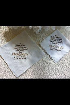 Set of 2 Personalized Handkerchief 1women 1 men. $29.00, via Etsy.