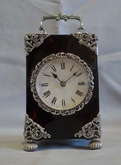 Antique English silver mounted & tortoiseshell carriage clock of substantial size. - Gavin Douglas Antiques