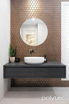 Wohnungseinrichtung deko Vanity in Estella Oak Woodmatt. Saving On Home Energy Costs These days, a m Bathroom Tile Designs, Bathroom Design Luxury, Modern Bathroom Design, Modern Powder Rooms, Washbasin Design, Powder Room Decor, Bathroom Photos, Bathroom Gallery, Toilet Design