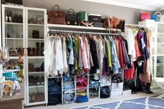 Song of Style - closets - ikea billy, billy bookcase, glass billy bookcase, shoe… Dressing Room Closet, Closet Bedroom, Closet Space, Dressing Rooms, Dorm Closet, Closet Wall, Closet Tour, Dressing Area, Shoe Closet