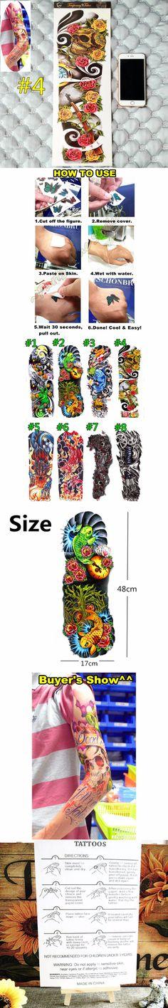 """Run & Gun"" Temporary Body Arts, Full Sleeve Arm 48*17cm Flash Tattoo Stickers, Waterproof Henna Tatoo Summer Style Sex Products $1.95"