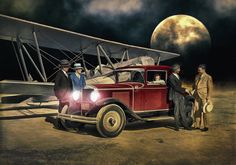 Moonlight Cruise .....  Painted from a black and white photo.  Hot Rod Art by Rat Rod Studios, www.RatRodStudios.com