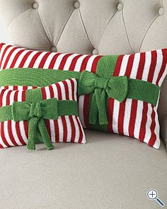 Christmas pillows. Store bought and knitted, but hey, the clever crocheter can whip these out in double crochet in no time.
