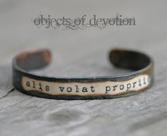 SHE FLIES With Her Own Wings * Alis Volat Propriis * Inspirational Bracelet * Inspirational Jewelry * Latin Phrase * Artisan Graduation Gift