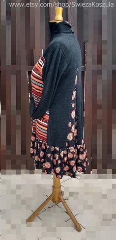 1X Boho Sweater Tunic Dress Women's Upcycled clothing | Etsy Denim Shirt With Jeans, Romantic Outfit, Upcycled Clothing, Tunic Sweater, Handmade Clothes, Boho Dress, Nice Dresses, Etsy Shop, Sweaters
