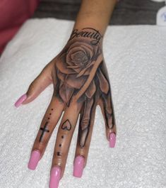 Pretty Hand Tattoos, Hand Tattoos For Girls, Neck Tattoos Women, Spine Tattoos For Women, Hand Tats, Unique Hand Tattoos, Cute Foot Tattoos, Red Ink Tattoos, Forarm Tattoos
