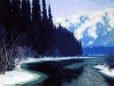 A Silent Stream Of The North Artwork By Clarence Gagnon Oil Painting & Art Prints On Canvas For Sale Canadian Painters, Canadian Artists, Quebec, Clarence Gagnon, Saint Laurent, Of Montreal, Art Prints For Sale, A4 Poster, Vintage Artwork