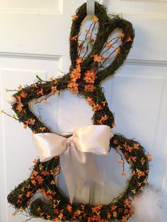 Whimsical Easter Bunny Moss Wreath Easter by CelebrateAndDecorate, $42.50