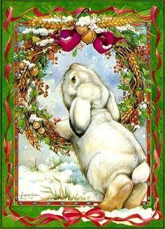 Bunny Tail By Leesa Whitten Medium Christmas Artwork, Christmas Images, Christmas Fun, Xmas, Christmas Decoupage, Vintage Christmas Cards, Lapin Art, Image Halloween, Art Fantaisiste