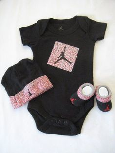 Nike Jordan Infant New Born Baby Shoulder Bodysuit, Booties and Cap 0-6 Months with Air Jordan Sign One Set 3 Piece Set