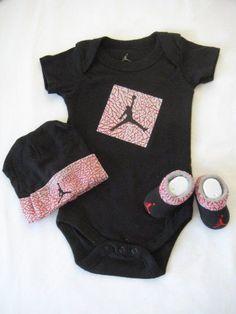 Nike Jordan Infant New Born Baby Shoulder Bodysuit, Booties and Cap 0-6 Months with Air Jordan Sign One Set 3 Piece Set