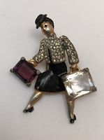 """GORGEOUS RARE EARLY """" TRAVELING LADY """" - SCHIAPARELLI BROOCH - PIN - CLIP"""