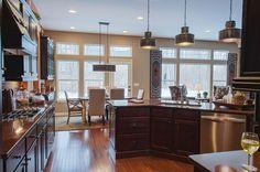 """Transitional Kitchen with Undermount 32"""" Double Bowl 50/50 Kitchen Sink by Kraus, Black pearl Satin, Granite, Kitchen island"""