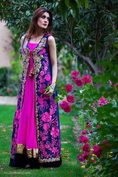 Magenta long shirt with Magenta Navy blue combo gown Pakistani Wedding Outfits, Pakistani Dresses, Indian Dresses, Indian Outfits, Pakistani Clothing, Oriental Fashion, Asian Fashion, Elegant Dresses, Beautiful Dresses