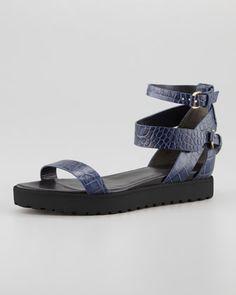 Jade Croc-Embossed Flat Sandal, Lapis by Alexander Wang at Neiman Marcus.