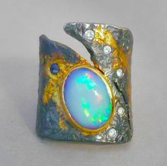 Goph Studios ~ opal, diamond,18k gold, sterling silver ring