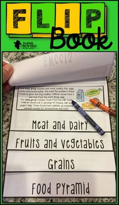 Food Pyramid FLIP Book perfect for 1st and 2nd grade science. Easy and fun to assemble!