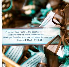 Chad's mother, Ann Kelly, designed the favors -- each tiny gift box was filled with M in the wedding colors, along with unique chocolates: one in the shape of the state of Iowa, one shaped like a seashell, and one shaped like a mountain.