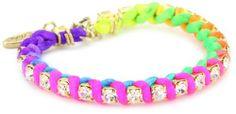 Ettika Gold Colored Rhinestone Chain and Neon Satin Bracelet Ettika. $36.00. Made in USA