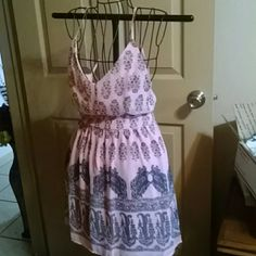 Cute sexy Print mixed print dress nwt Sage dress from twin haute Pink bare back is large but fits like a medium sage Dresses Mini
