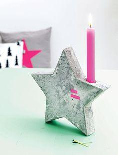 Betonnen kandelaar via magazin 101 Woonideeën...sweet little christmas DIY