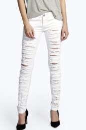 Evie Low Rise Shredded Leg Skinny Jeans alternative image