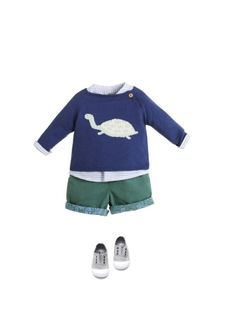 NANOS SHOP ONLINE. Detalle de conjunto Little Fashion, Baby Boy Fashion, Kids Fashion, Baby Boy Outfits, Kids Outfits, Cool Outfits, Toddler Boys, Baby Kids, Sewing Baby Clothes