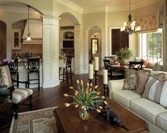 Pillars defining different spaces.   would be fun to decorate for the holidays. <3