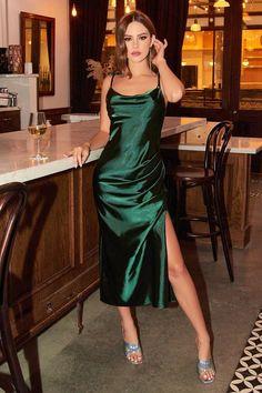 Green Satin Dress, Dusty Rose Dress, Satin Midi Dress, Satin Dresses, Silk Dress, Sheath Dress, Formal Midi Dress, Green Dress Outfit, Slip Dress Outfit