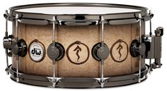 Neil Peart's Connoiseur 'Snakes and Arrows' Snare - Subtle Natural to Candy Black Lacquer over Birdseye Maple with Walnut Inlays with Black Nickel Hardware