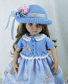 """Outfit for Dianna Effner Little Darling 13"""" Doll by Ulla, Blue Floral #DiannaEffner"""