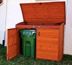 Walnut Stained Pallet Trash Can/Recycling Shed - Why We Love Pallet Projects (And You Should, Too!)   Pallet Furniture DIY - Part 4