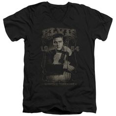 ELVIS/1954 - S/S ADULT V-NECK - BLACK -