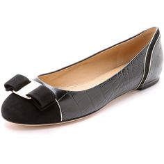 Salvatore Ferragamo Varina Luxury Ballet Flats ($595) ❤ liked on Polyvore featuring shoes, flats, nero, crocs flats, flat shoes, crocs ballet flats and leather flats