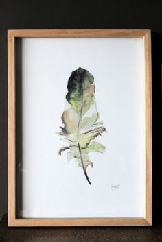 Darcy Feather Print With Oak Frame