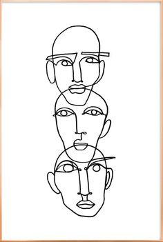 "- - – - - – - Faces - One Line Drawing lesagittarie ""Notion"" Linework by Julia Hariri Boredom Poster Art And Illustration, Art Inspo, Kunst Inspo, Art Sketches, Art Drawings, Tattoo Sketches, Abstract Drawings, Desenho New School, Art Du Croquis"