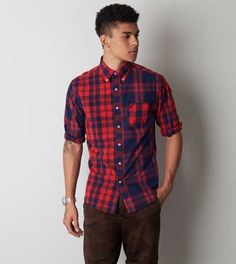 AEO Plaid Button Down Shirt. Show us your #AEOStyle on Instagram for a chance to be featured on AE.com