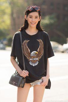#MingXi & her Harley Davidson tee #offduty in NYC.
